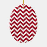 Red Glitter Chevron Pattern Double-Sided Oval Ceramic Christmas Ornament