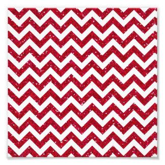 Red Glitter Chevron Pattern Photographic Print