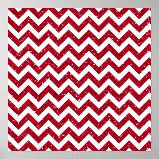 Red Glitter Chevron Pattern Poster