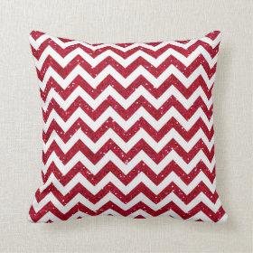 Red Glitter Chevron Pattern Throw Pillows