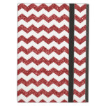 Red glitter chevrons iPad cases