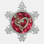Red Glitter Christmas Music Heart Clef Snowflake Ornaments