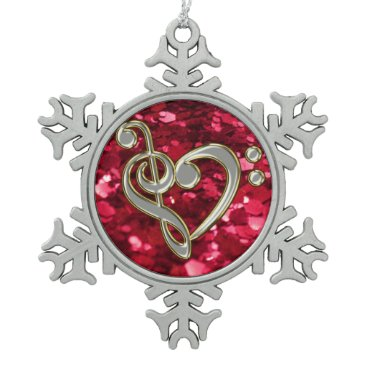 Christmas Themed Red Glitter Christmas Music Heart Clef Snowflake Snowflake Pewter Christmas Ornament