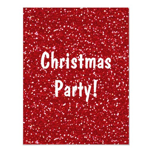 Red Glitter Christmas Party Invitation - Customize