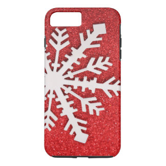 Red Glitter Christmas Sparkles Barely Snowflake iPhone 7 Plus Case