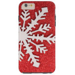 Red Glitter Christmas Sparkles Barely Snowflake Tough iPhone 6 Plus Case