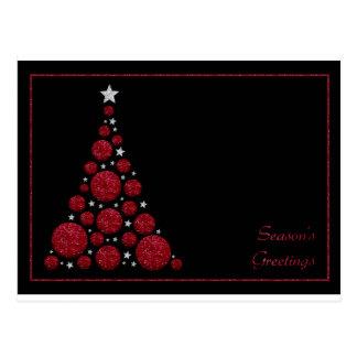 Red Glitter Christmas Tree-Season's Greetings Card