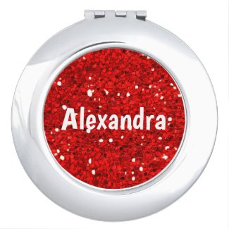 Red Glitter Compact Mirror
