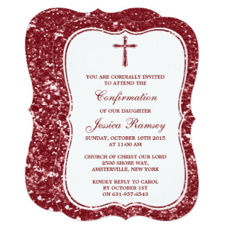 Red Glitter Cross Holy Communion Or Confirmation Card