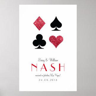 Red Glitter Destiny Las Vegas Wedding Anniversary Poster