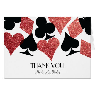 Red Glitter Destiny Las Vegas Wedding Thank Yo Card