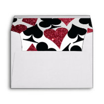 Red Glitter Destiny Vegas Wedding Envelope