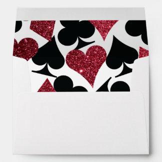 Red Glitter Destiny Vegas Wedding Envelope