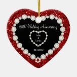 Red Glitter DIY Wedding Anniversary Ceramic Ornament