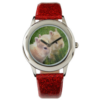 Red_Glitter_Dwarf_Bunnies_Kids_Watch Reloj