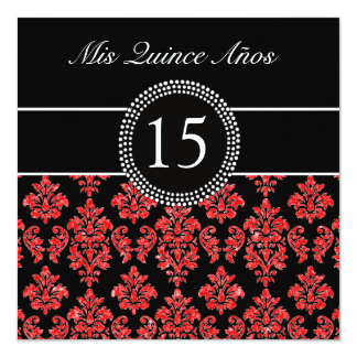 RED GLITTER EFFECT BLACK DAMASK QUINCEANERA CARD