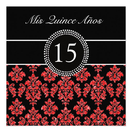 RED GLITTER EFFECT BLACK DAMASK QUINCEANERA CUSTOM INVITATION