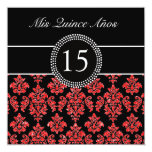 RED GLITTER EFFECT BLACK DAMASK QUINCEANERA 5.25X5.25 SQUARE PAPER INVITATION CARD
