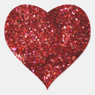 Red Glitter Effect Heart Sticker