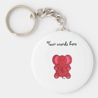 Red glitter elephant basic round button keychain