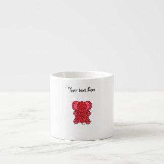 Red glitter elephant 6 oz ceramic espresso cup