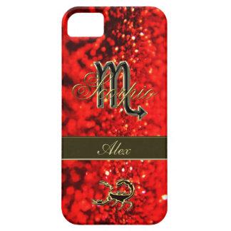 Red Glitter Gold Zodiac Sign Scorpio Personalized iPhone SE/5/5s Case