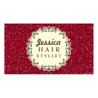 Red Glitter Hair Stylist Appointment Cards Business Cards