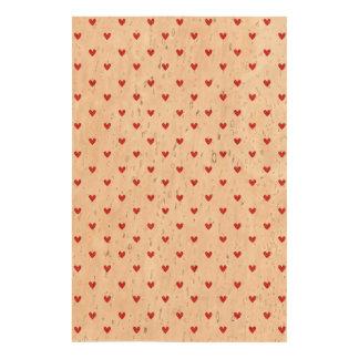 Red Glitter Hearts Pattern Cork Paper Prints