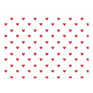 Red Glitter Hearts Pattern Postcard