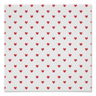 Red Glitter Hearts Pattern Posters