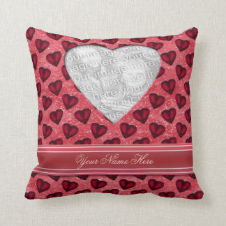 Red Glitter Hearts Pillow