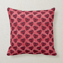 Red Glitter Hearts Pillows