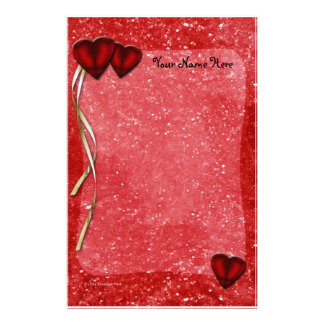 Red Glitter Hearts Ribbons Stationery
