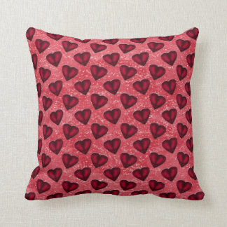 Red Glitter Hearts Throw Pillow