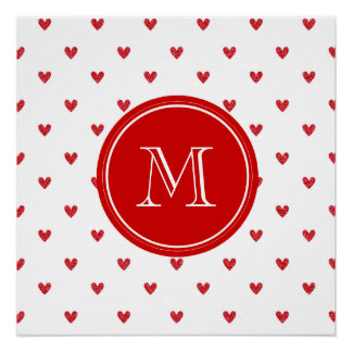 Red Glitter Hearts with Monogram