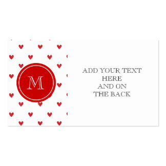Red Glitter Hearts with Monogram Double-Sided Standard Business Cards (Pack Of 100)