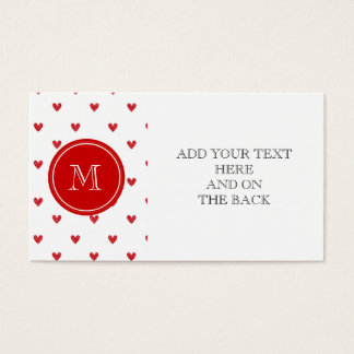 Red Glitter Hearts with Monogram Business Card