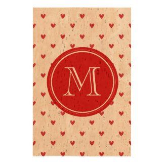 Red Glitter Hearts with Monogram Cork Fabric