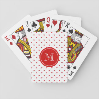 Red Glitter Hearts with Monogram Playing Cards