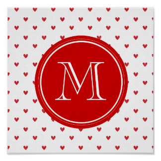 Red Glitter Hearts with Monogram Poster
