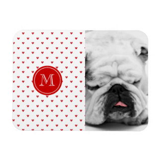 Red Glitter Hearts with Monogram Rectangular Photo Magnet
