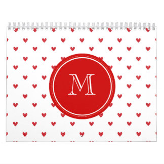 Red Glitter Hearts with Monogram Wall Calendar