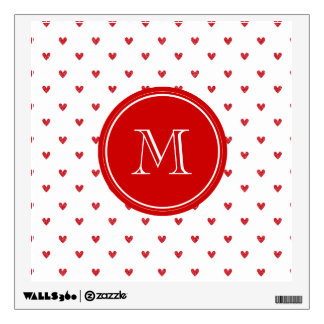 Red Glitter Hearts with Monogram Wall Decals