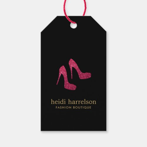 Red Glitter Heels Boutique Fashion Black Gift Tags