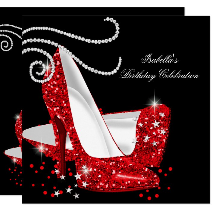 Red Glitter High Heels