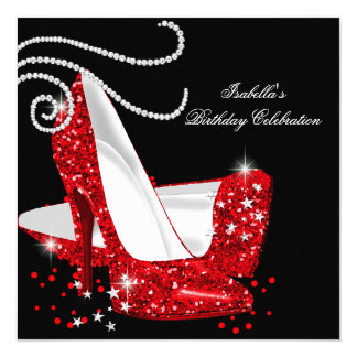 Red Glitter High Heels Black Birthday Party Invitation