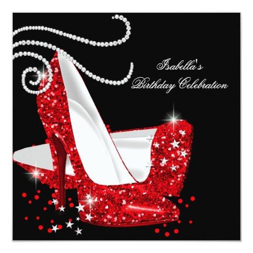 Red Glitter High Heels Black Birthday Party 5.25x5.25 ...