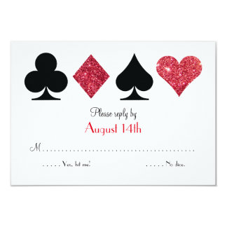 Red Glitter Las Vegas Wedding RSVP reply card