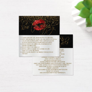 Red Glitter Lip Sense Application Instructions Square Business Card