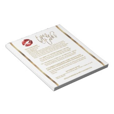Professional Business Red Glitter Lip Tips and Tricks Notepad